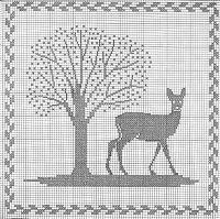 """Gallery.ru / Mosca - Альбом """"Tiere und Baume"""" Cross Stitch Tree, Just Cross Stitch, Cross Stitch Animals, Cross Stitch Charts, Cross Stitch Patterns, Cross Stitching, Cross Stitch Embroidery, Embroidery Patterns, Blackwork"""