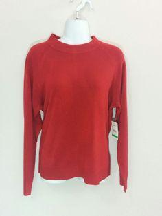 Debbie Morgan red long sleeve sweater w/ zip back of neck, Large, #3259 #DebbieMorgan #Crewneck