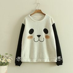 Lovely Panda Autumn Girl Sweatershirt Two Colors  $24.90  10% off discount code sweetbox for new arrivals