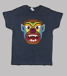 Camiseta niños de mascara etnica de gorila / hombre lobo inspirado en las mascaras andinas de ecuador