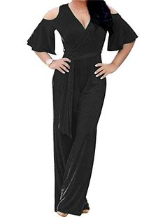 d56312e4a04 LinkShowWomen LinkShow Women Solid Deep V Neck Casual Hipster Flared Pant  Jumpsuits