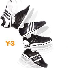 The new black and white @y-3 footwear highlights for A/W 2013-14 are hitting store shelves now and will be available at http://www.Y-3store.com soon. Thanks to FootAsylum for the image. #adidas #Y3 #sneakers