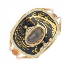 A George III gold and enamel memorial ring with glazed hair compartment