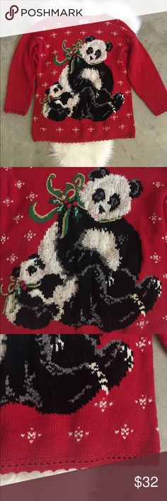 """Vintage Panda Ugly Christmas Sweater Size Large Vintage ugly Christmas sweater. Size large, in good used condition.   Measurements: Length - 28.5"""" Chest - 22"""" Sleeves - 18.5""""  Feel free to ask any questions. No trades, offers welcome. Vintage Sweaters Crew & Scoop Necks"""