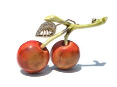 Double Cherry Fruit Brooch by HAR a Very Rare 50s by RibbonsEdge