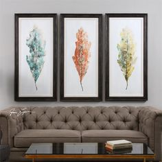 Tricolor Leaves Abstract Art 3 Piece Framed Original Painting Set | Wayfair