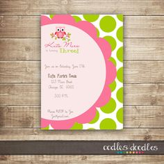 Owl Girls Birthday Invitation / Pink & Lime Green by OandD