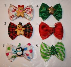 Mini Holiday Dog Bows by HodgePodgeBowtique on Etsy, $4.50