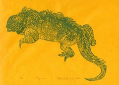 New to minouette on Etsy: Iguana - First Edition Lino Block Print - Linocut Iguana Print in Green on Yellow Japanese Paper Natural History Lizard (18.00 USD)