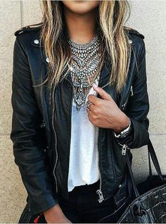 27 Cool Leather Jacket Outfits For This Fall - vaatteet 2 - Mode Mode Outfits, Fall Outfits, Casual Outfits, Fashion Outfits, Womens Fashion, Grunge Outfits, Looks Street Style, Looks Style, Look Fashion