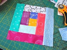 """Follow this step-by-step tutorial for sewing a 10"""" finished traditional log cabin quilt block. You can even use jelly roll pre-cuts!"""