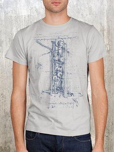 Men's TShirt  DaVinci Mechanism Sketch