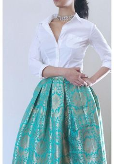 Brocade skirt and silk shirt blouse - Rock Indian Gowns Dresses, Indian Fashion Dresses, Brocade Dresses, Indian Designer Outfits, Skirt Fashion, Brocade Blouses, Fashion Outfits, Lehenga Designs, Kurta Designs
