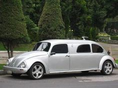 VW Beetle stretched to accommodate up to 10 passengers. I so badly wanted one of these for our wedding!