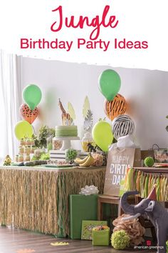 Lions, tigers and birthdays. Whether you are planning a party for your little cub, or the king of the jungle our collection of helpful party ideas, DIY's and printables will make your safari birthday adventure come to life. So gather all your party Jungle Theme Birthday, Jungle Theme Parties, Safari Theme Party, Safari Birthday Party, 1st Boy Birthday, Boy Birthday Parties, Birthday Party Decorations, 1st Birthday Party Ideas For Boys, Toddler Party Ideas