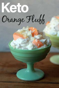 Orange Keto Fluff Salad is a fun dessert made with a whipped cream base that is filled with sugar free orange marshmallows and topped with coconut flakes. It's an easy to make low carb treat with only net carbs per serving. Low Carb Keto, Low Carb Recipes, Cooking Recipes, Juice Recipes, Orange Fluff, Sugar Free Jello, Fun Desserts, Dessert Recipes, Healthy Desserts