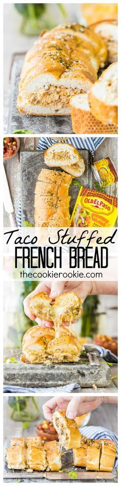 Taco Stuffed French Bread Baguette FoodBlogs.com