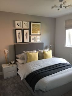 14 Fabulous Rustic Chic Bedroom Design and Decor Ideas to Make Your Space Special - The Trending House Yellow Gray Bedroom, Bedroom Colors, Grey Bedroom With Pop Of Color, Home Bedroom, Bedroom Decor, Bedroom Ideas, Wall Decor, Mustard Bedroom, Accent Wall Bedroom