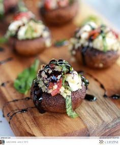 Caprese grilled stuffed mushroom with balsamic glaze