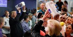 El presidente de Estados Unidos se volvió a lucir con sus compatriotas en Puerto Rico. En una audiencia llena de reporteros y damnificados, se le vio aventándole a la gente rollos de papel como si fueran pelotas de basquetbol.   Puerto Rico sufre una gran devastación luego del paso del huracán...