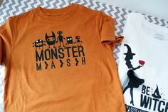 Make your own Halloween t-shirts - The Polka Dot Chair Holidays Halloween, Halloween Kids, Halloween Crafts, Happy Halloween, Halloween Shirts For Boys, Halloween Sewing, Freezer Paper Stenciling, Polka Dot Chair, Make Your Own