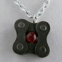 Red black recycled metal bicycle chain pendant by WanderingJeweler, $23.00