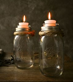 Mason jar candle holders. Take the center out of the jar lid, paint the lid rim, and insert a glass votive that the top is wider than the bottom. Fill the bottom with some potpourri or some other decorative filler. Love these!