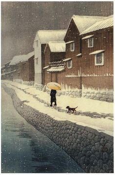 Hasui Kawase aka Kawase Hasui aka 川瀬 巴水 aka Kawase Bunjiro (Japanese, 1883-1957, b. Tokyo, Japan) - Shinkawa Riverside, Handa, Bishu, 1935 from Selections of Views of the Tokaido series.