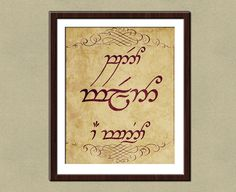 Speak Friend and Enter in Elvish Poster Print - 8x10 Lord of the Rings wall art via Etsy
