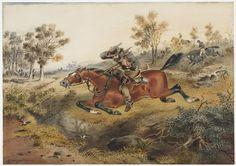 Flight of a Bushranger (Samuel Thomas Gill Crime, The Past, Australia, History, Painting, Art, Art Background, Painting Art, Kunst
