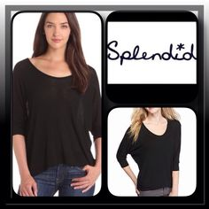Basic Black hi-lo Top by Spendid Soft rayon- spandex top in basic black features scoop neck, dolman cuffed sleeves and hi- lo hem Anthropologie Tops