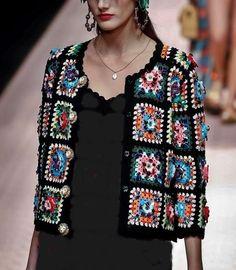 Dziana Moda: Dolce & Gabbana Spring Summer 2019 - Knitting and Crochet Crochet Jacket, Crochet Poncho, Crochet Cardigan, Mode Crochet, Crochet Patron, Dolce & Gabbana, Crochet Squares, Crochet Fashion, Crochet Clothes
