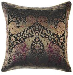 Avarada India Style Elephant Peacock Throw Pillow Cover Decorative Sofa Couch Cushion Cover Zippered 16x16 Inch (40x40 cm) Black Avarada http://www.amazon.com/dp/B00RIZVLV2/ref=cm_sw_r_pi_dp_tpWSvb1S9SJJG