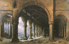 Louis Daguerre - The Effect of Fog and Snow Seen through a Ruined Gothic Colonnade (1826)