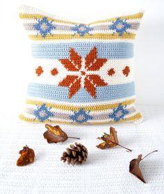 fair isle cushion crochet pattern fairisle by LittleDoolally