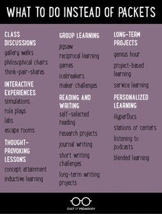 Frickin' Packets (Cult of Pedagogy) Instructional Coaching, Instructional Strategies, Teaching Strategies, Teaching Tips, Instructional Technology, Siop Strategies, Cooperative Learning Strategies, Differentiation Strategies, Inquiry Based Learning