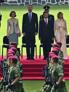 King Felipe VI of Spain and Queen Letizia of Spain, Enrique Peña Nieto, President of Mexico and Angelica Rivera, First Lady of Mexico, during a reception given by Mexican President Enrique Peña Nieto and his wife First Lady Angelica Rivera at Campo Marte on June 29, 2015 in Mexico City, Mexico