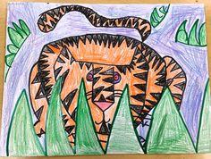 Paintbrush Rocket: Grade Art Folders inspired by Rousseau! 2nd Grade Art, Grade 1, Drawing Lessons, Art Lessons, Henri Rousseau Paintings, Directed Drawing, Art Folder, Tiger Art, Draw Something
