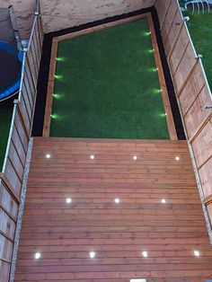 Decking installation in Islington combined with garden lighting, Astro turf laying and building of flowerbeds. Do you want a garden like this? Decking Area, Laying Decking, Cool Deck, Diy Deck, Astro Turf Garden, Deck Design, Garden Design, Deck Construction, House Deck