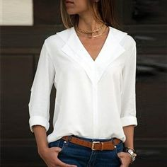 Flash Deals White Blouse Long Sleeve Chiffon Blouse Double V-neck Women Tops and Blouses Solid Office Shirt Lady Blouse Shirt Blusas Camisa Mode Outfits, Fashion Outfits, Style Fashion, Jeans Fashion, Fashion Blouses, Curvy Fashion, Fall Fashion, The Office Shirts, Work Shirts