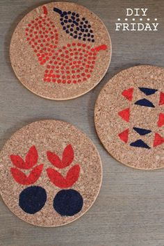 DIY cork Trivets decorated with paint