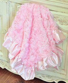 Mud Pie Pink Baby Blanket Chiffon Rosettes $46.00