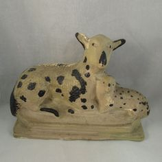 Antique Early American hollow chalkware sheep lamb original paint 19th Folk Art