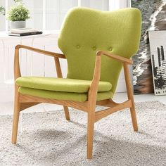 Modway Care Arm Chair Color: Birch/Green