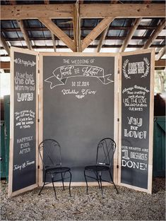 Photo Booth Ideas: Chalkboard backdrop with name and date. So fun!