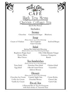 Tea Party Menu Template  Google Search  Tea Party