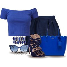 blue by cavell on Polyvore featuring Maison Kitsuné, Miu Miu, Kate Spade, M&Co and Fendi