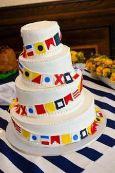 Nautical Wedding - Wedding Cake - Nautical Flags