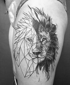 ideas tattoo lion geometric artists for 2019 - Tatoo - Tatouage Lion Tattoo On Thigh, Lion Head Tattoos, Mens Lion Tattoo, Leo Tattoos, Bild Tattoos, Animal Tattoos, Body Art Tattoos, I Tattoo, Sleeve Tattoos