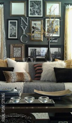 Love this living room of eclectic stuff